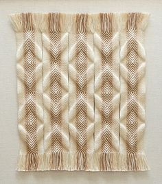 The tablet woven reliefs are composed of strips. This technique allows to make use of the internal tension in the weaving structure to create three dimensional shapes.