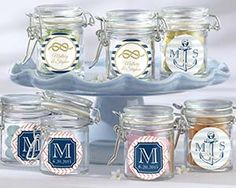 Personalized Glass Favor Jars - Nautical Wedding - Can make ourselves