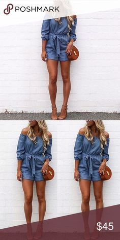Sexy Denim Blue Off Shoulder Mini Shorts Romper Beautiful and comfortable describes this shorts romper (Jumpsuit) + Sash. Material: Polyester Hi-Quality / Color: Blue  Size:   Waist.        Bust. Hip. Thigh. Length  S.  22.83-36.22/37.01/37.80/24.41/26.77 M. 23.62-37.01/37.80/38.58/25.20/27.56 L.  24.42-37.80/38.58/39.37/25.98/28.35 Brand New, Without Tags 💋 3x1 Dresses Mini
