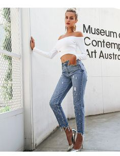Simplee Pearl tassels blue high waist jeans female Streetwear pocket casual  jeans 18 Summer denim pants women bottom 6468e54bc49