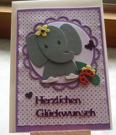 Glückwunschkarten - Glückwunschkarte zum Geburtstag mit Elefant - ein Designerstück von Wollzottel bei DaWanda