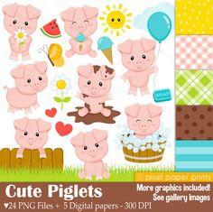 Cute Piglets Pig clipart Clip Art and Digital paper set