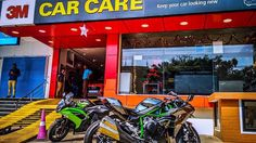 Alien has landed in Mangalore.  The Dad of all Kawasaki Bikes the Ninja H2.  One of the 3 bikes in Karnataka and my baby Ninja 650r.  #Kawasaki #NinjaH2 #3MCarCareMangalore  #RevLimiterZ #Mangalore  #KawasakiNinjaH2