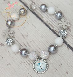 Frozen-Inspired Silver Snowflake Olaf Necklace