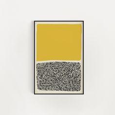 Mid Century Modern Abstract Wall Art Print Yellow And Black Black Abstract, Abstract Wall Art, Abstract Print, Modern Retro, Retro Art, Retro Room, Mid Century Modern Art, Art Plastique, Oeuvre D'art