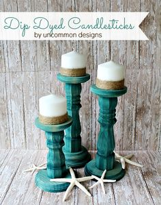 Make my own candle sticks from chair legs or stair spindles!! Great DIY idea for love of big candle sticks!!!! dip dyed candlesticks in tie-dye