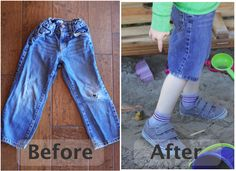DIY: Make Jeans into Shorts Using the Original Hem Could easily be done on any size :) From winter jeans to summer shorts. the always out grow the length before the waist