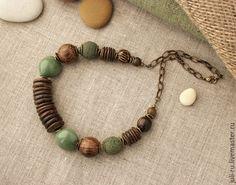 Купить Колье этно массивное с цепочкой Глафира - коричневый, колье из камней, стильное украшение