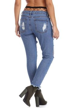 8ce1dee630e53 Loose Jeans With Holes And Straight Edges For Ladies'trousers And Stockings