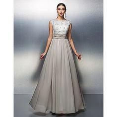 TS Couture Sheath/Column Mother of the Bride Dress - Silver Floor-length Sleeveless Chiffon – USD $ 99.99