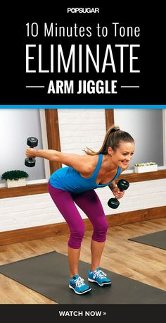 It's time to say good bye to arm jiggle! Here's a workout to tone your arms with extra focus on the triceps. Grab a set of dumbbells, from three to five pounds, and get ready to bare arms.It's time to say good bye to arm jiggle! Here's a workout to tone Arm Workout Videos, Toning Workouts, At Home Workouts, Workout Tips, Arm Exercises, Arm Jiggle Workout, Triceps Workout, Arm Toning, Workout Plans