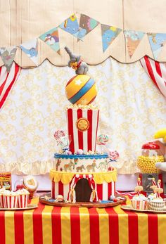 Amazing party cake from Dumbo Circus Birthday Bash at Kara's Party Ideas. See more at karaspartyideas.com!