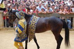 Comparsa della Contrada della Tartuca: la cavalla Elimia condotta dal Barbaresco. Foto tratta dal sito http://palio.be/