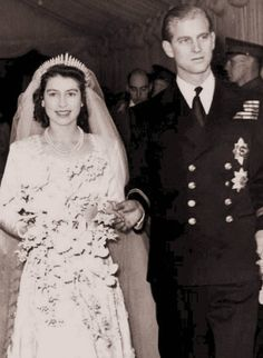 Queen Elizabeth and Prince Phillip on their wedding day in 1947