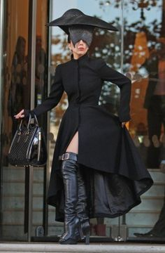 Lady GaGa wearing Alexander McQueen out in London.
