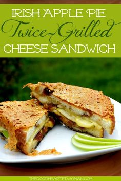 Irish Apple Pie Twice-Grilled Cheese Sandwich - Melted Dubliner cheese tart apples sweet apple butter and cinnamon bread combine to make this amazing award winning sandwich. Wrap Recipes, Gourmet Recipes, Vegetarian Recipes, Curry Recipes, Cooking Recipes, Dubliner Cheese, Sandwich Melts, Sandwich Recipes, Sandwich Ideas
