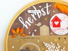 Herbstliches Layout im Stickrahmen | Kreativwerkstatt Project Life, Creative, Up, Layout, Paper, Creative Ideas, Invitations, Packaging, Gifts