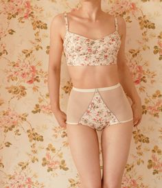 "Handmade ""Vintage Garden"" Ivory Floral Soft Bra And High Waist Panty Lingerie Set. UK Size 8,10,12,14,16"