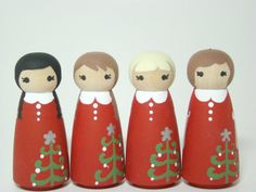 Christmas Holiday Ornament Peg Doll Ornament Hand Painted Custom - Set of 3