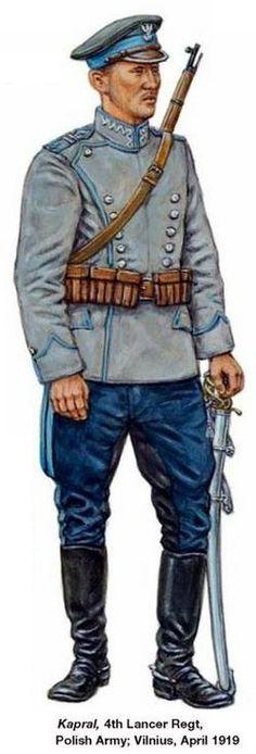 1919 Kapral 4 Regimiento de Lanceros polacos Vilnius Russo-Polish War 1919 - 1921.