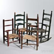 Four Painted and Turned Child's Slat-back Chairs, New England, late 18th/early 19th century, including one with rockers, (imperfections), ht. to 29 1/2, seat ht. to 10 3/4 in.  Estimate $400-600  SKINNER Auctions