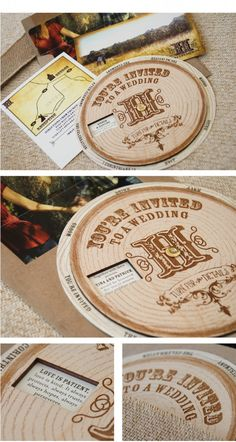 Wood wedding invitation, spin to see details like when and where