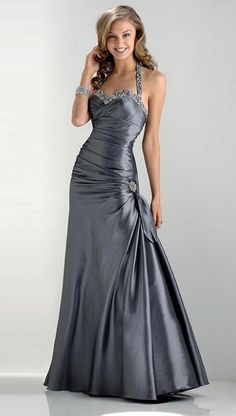 pretty dark silver and jeweled halter strap also love the folds in the bodice and skirt -- Prom Dresses