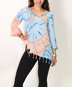 Another great find on #zulily! Turquoise & Pink Swirl Tie-Dye Embroidered Top - Women #zulilyfinds