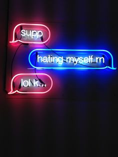 Neon by artist Petra Collins, now on display at Capricious 88 The Darkness, Neon Light Signs, Neon Signs, Neon Rosa, Petra Collins, Neon Words, Sign Lighting, Lighting Design, Neon Aesthetic