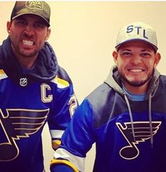 Adam and Yadi - True Blues Boosters and tremendous St Louisans! St Louis Cardinals Baseball, Stl Cardinals, Hockey Teams, Baseball Players, Baseball Cards, Cardinals Players, Go Packers, St Louis Blues, Yadier Molina