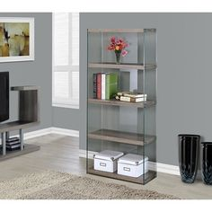 Monarch Specialties Reclaimed-Look/Tempered Glass Bookcase - Dark Taupe