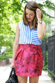 bold stripes + bright florals.