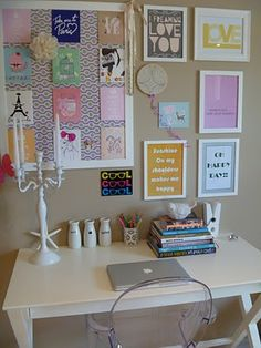 could pick up a cork board and some frames for my oldest girls room