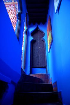 Doors, windows and a staircase! Such beautiful colour blue also! Moroccan Design, Moroccan Style, Moroccan Blue, Moroccan Room, Moroccan Interiors, Moroccan Decor, Cool Doors, Unique Doors, 6 Chakra
