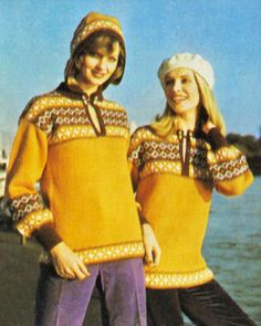 Fair Isle Pullover Sweater & Hood Vintage Knitting Pattern for download Bust 32-38