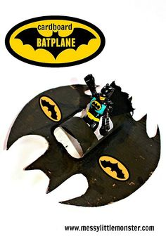Batman craft and activity ideas for kids.  Make and play with a Batplane / Batmobile.  A great craft idea for boys and superhero fans. FREE BATMAN LOGO PRINTABLE