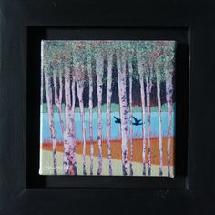 Original oil painting on canvas, two dark coloured swans are seen flying lazily through a group of silver birch trees past a blue river, beyond which is a dark forest. Inspired by my love of the Waveney Valley, Norfolk/Suffolk border, UK. Framed in a hand made black painted frame and ready