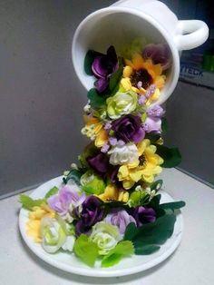 ARTE COM QUIANE - Paps,Moldes,E.V.A,Feltro,Costuras,Fofuchas 3D: Arranjo de flor xícara suspenso passo a passo