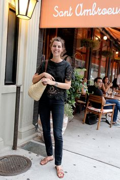 Acne jeans, Isabel marant top, Hermès sandals, Lucky basket tote. (Her thoughts on brunch, right this way.) Ask a French Girl About Wine - Man Repeller