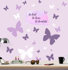 Be Bold, Be Brave, Be Beautiful Butterfly Wall Decals