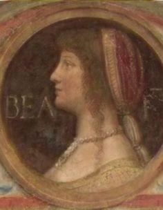 Lunette of Beatrice d'Este - wife of Lodovico Maria il Moro Sforza (1451-1508) at Sforza Castle, by Bernardino Luini