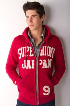 Destroyer Applique Zip Hoodie in Cherry by Superdry for $121.00