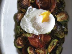 Brussels sprouts with pancetta and eggs