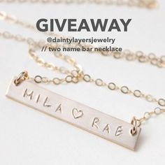 We have teamed up with @daintylayersjewelry to give away one of their beautiful handstamped two name bar necklaces (examples shown here) to a lucky one of YOU!  How to enter? 1 - MUST Follow @hellolovehandmade & @daintylayersjewelry  2 - Tag a friend(s) below to tell them about this great giveaway! Each tag is an additional entry! 3 - Giveaway ends at midnight CST  winner will be announced on this post tomorrow  Giveaway open To U.S entrants only.  Cant wait? Use #PROMO: HANDMADE10 for 10%…