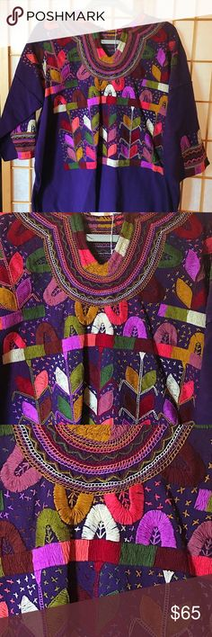 New Mexican Handmade Embroidered Blouse Chiapas Gorgeous Mexican Embroidered Blouse 100% Handmade in Chiapas, Mexico. The design features a rural scene that represents stars in the sky and corn plants. New. One-of-a-Kind unique top! Wear art! Cielito Lindo Tops Blouses