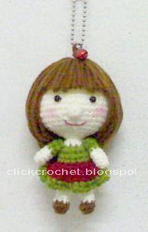 Haga clic en ganchillo: Tejer llavero muñeca correa del Teléfono Niñas.