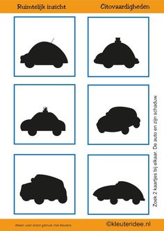 Cito skills for preschoolers, kleuteridee.nl, geometry and spatial awareness, the car and its shadow 2 count for toddlers. Preschool Activities, Activities For Kids, Counting For Toddlers, Transport Routier, Transportation Unit, Shadow Pictures, Picture Puzzles, Groundhog Day, Community Helpers