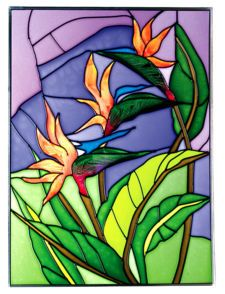 stained glass bird of paradise flowers patterns | BIRD of PARADISE Art Glass TROPICAL Suncatcher 14x10