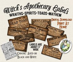 Apothecary Labels Halloween Witch Magic Printable Digital Download Clip Art DIY Clipart Scrapbook Vintage Style Image Collage Sheet by chocolaterabbit on Etsy https://www.etsy.com/listing/191730439/apothecary-labels-halloween-witch-magic