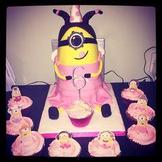 Girls minion cake and matching cupcakes